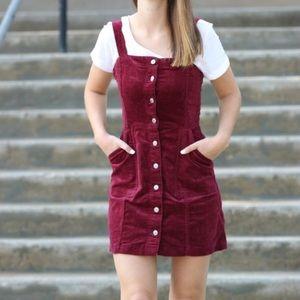 Burgundy Overall Dress